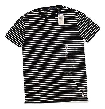 T Cotton Jersey Striped Lauren Men's Crew Shirt Polo Classic Neck Ralph Black Fit ZuOkiwPXT
