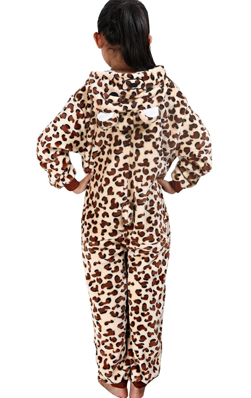 Haroty Unisex Bambini Leopardo Pigiama con Cappuccio Camicie da Notte da Cosplay Animale Flanella Pajamas Tuta