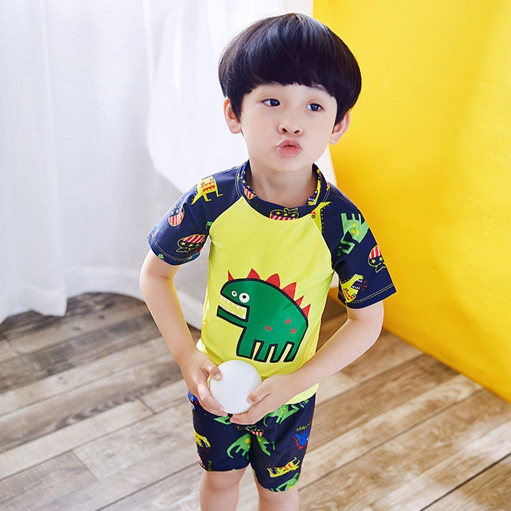 d520d4953 Niños traje de baño buceo Surf manga corta camiseta + Swim Shorts + gorra  de ducha. Ampliar imagen