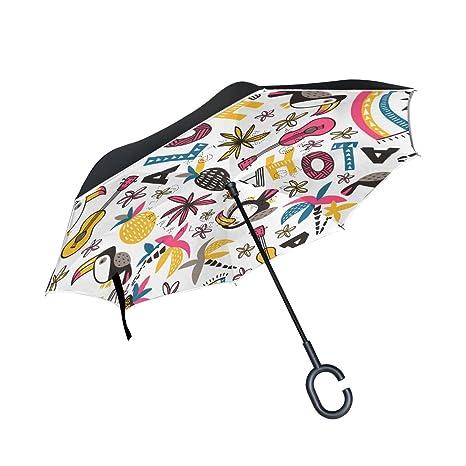 ISAOA invertido Paraguas Resistente al Viento Doble Capa ...