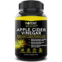 100% Natural Apple Cider Vinegar - 90 Capsules for Healthy Diet & Weight Loss- Pure...