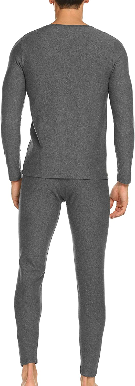 Ekouaer Thermal Underwear for Men Fleece Lined Long John Sets with Top /& Bottom Grey