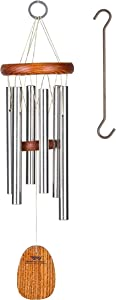 Woodstock Chimes AGSS (Bonus Hanging Hook Included) The Original Guaranteed Musically Tuned Amazing Grace Chime, Small, Silver