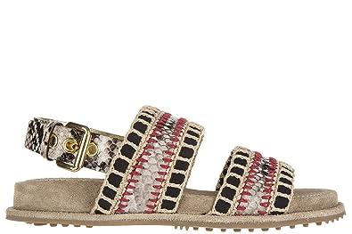 Car Shoe Damen Sandalen Sandaletten Pitone Beige