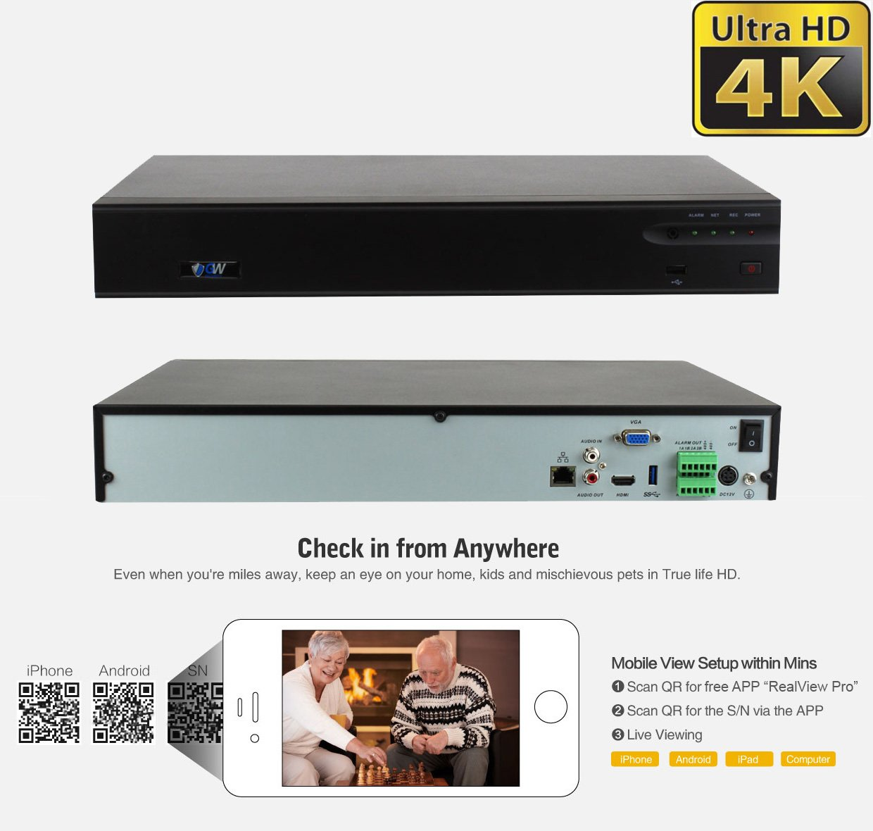 GW 32 Channel H.265/H.264 4K (3840×2160) NVR Security Network Video Recorder - Supports Up 32 X 8MP/5MP/4MP 1080P Any ONVIF IP Camera @ 30fps Realtime, Hold Up to 4x SATA HDDs by GW Security Inc (Image #2)