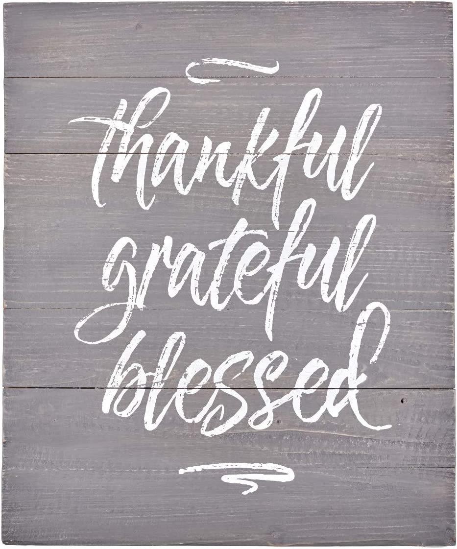Thankful Grateful Blessed Wooden Wall Art