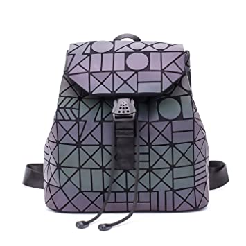 c984dc2ae7 Women Geometric Luminous Backpack Handbag Fashion Shoulder Bag Lingge Flash  Travel Rucksack NO.7