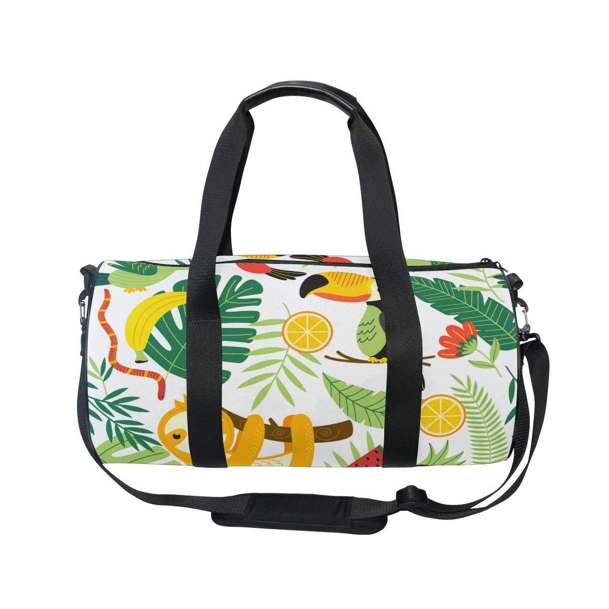 oulianレディースジムバッグトロピカルパイナップルナマケモノMens CampダッフルバッグDuffle Luggage Travel Bag  picture1 B07F72JLWJ