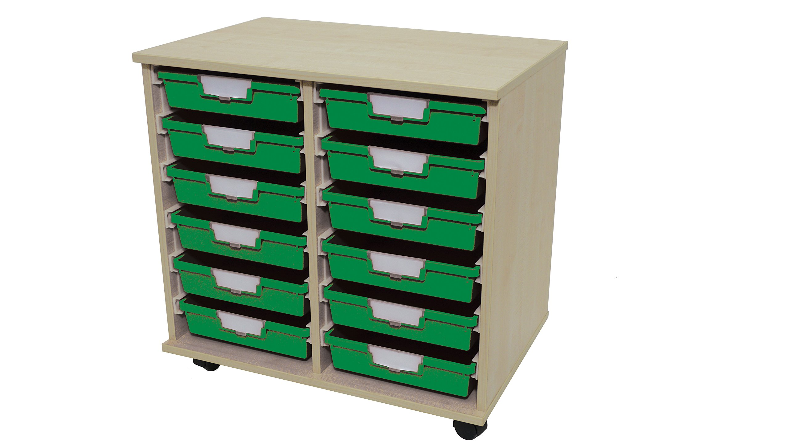Swift 'Slim Line' Wood Cart 12 Tray Green by StorSystemUSA (Image #2)
