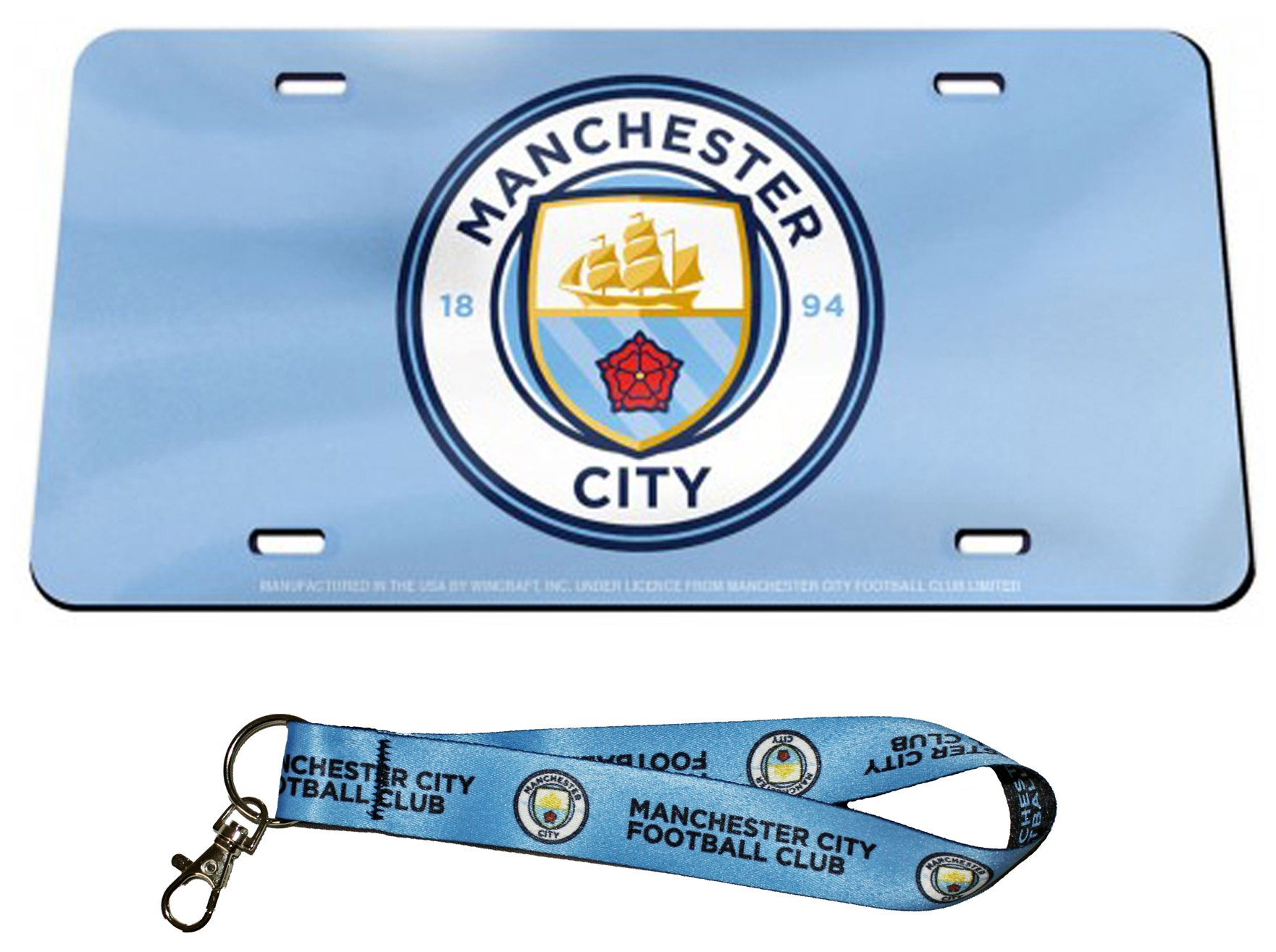 WinCraft Bundle 2 Items: Manchester City FC 1 Premium License Plate and 1 Key Strap Key Chain