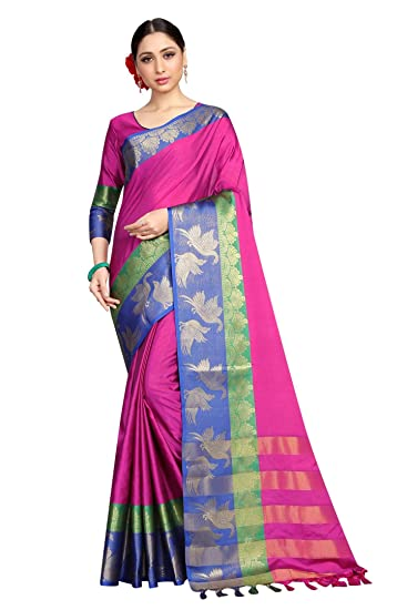 c95a6893a7480 Vastram Fashion Women s Poly Cotton Saree with Blouse Piece (Pink   Blue)   Amazon.in  Clothing   Accessories