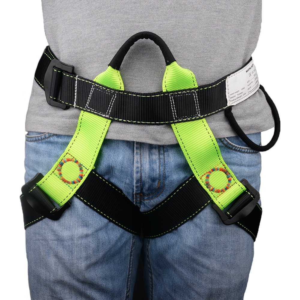 Brightfour Climbing Harness, Half Body Beginner Harness, Safety Belt Harness for Mountaineering Fire Rescuing Rock Climbing Tree Climbing Roof Working by