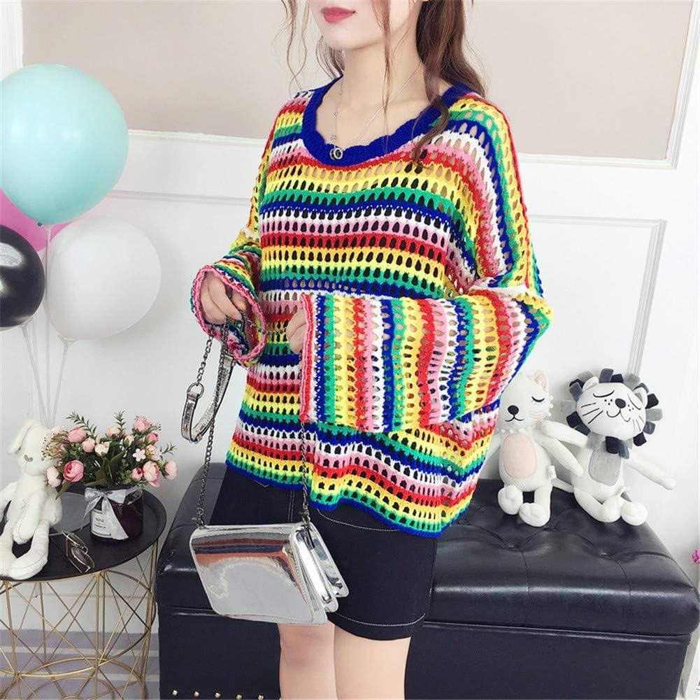MISSMAO Womens Casual Loose Long Sleeve Jumper Baggy V-Neck Tops Blouse T-Shirt Rainbow Sweater