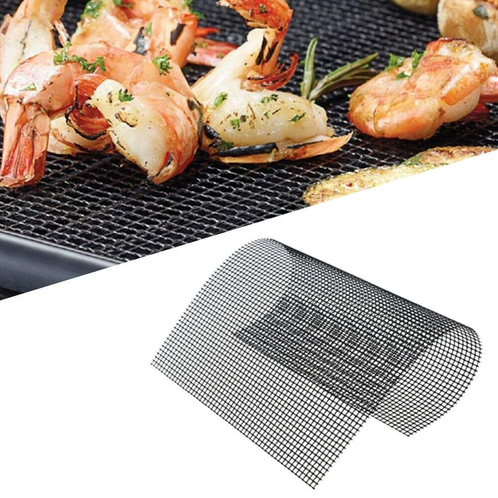 BBQ Grill Mesh Mat-Set of 5 Non-Stick Reusable Heavy Duty 13x15.75 Inch Heat Resistant Pad-Easy to Clean PTFE coated fiberglass Silicone Free FDA Approved-Suitable for Ovens and Outdoor Grills(Black)