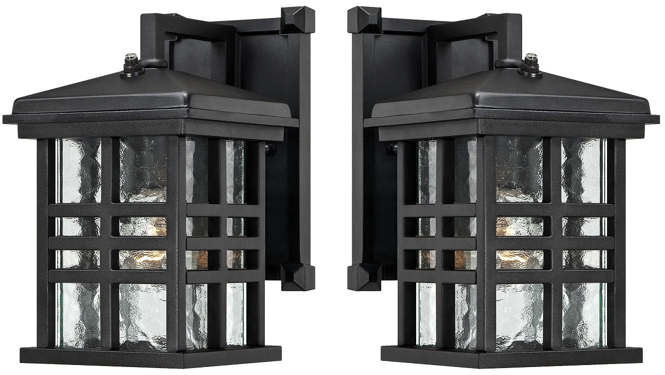 Westinghouse 6204500 Caliste 1 Light Outdoor Wall Lantern with Dusk to Dawn Sensor, Textured Black (2 Pack, Textured Black)