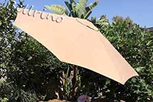BELLRINO DECOR Replacement Light Coffee/Tan Strong & Thick Umbrella Canopy for 9ft 6 Ribs (Canopy Only)
