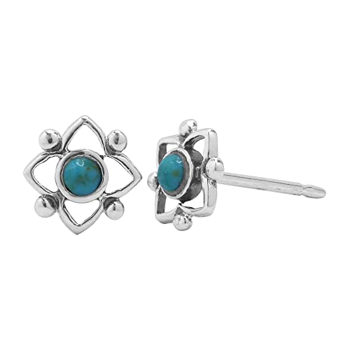 54ca43a32 Amazon.com: Boma Sterling Silver Blue Turquoise Flower Shaped Dot Stud  Earring: Jewelry