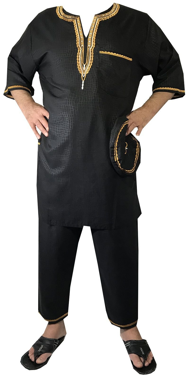DecoraApparel African Traditional Men Suit Ethnic Clothing Brocade Pant Set Plus Size (Black Gold)