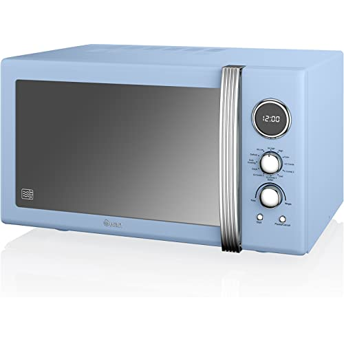 Swan SM22080BLN Retro Digital Combi Microwave with Grill, 25 Litre, Blue