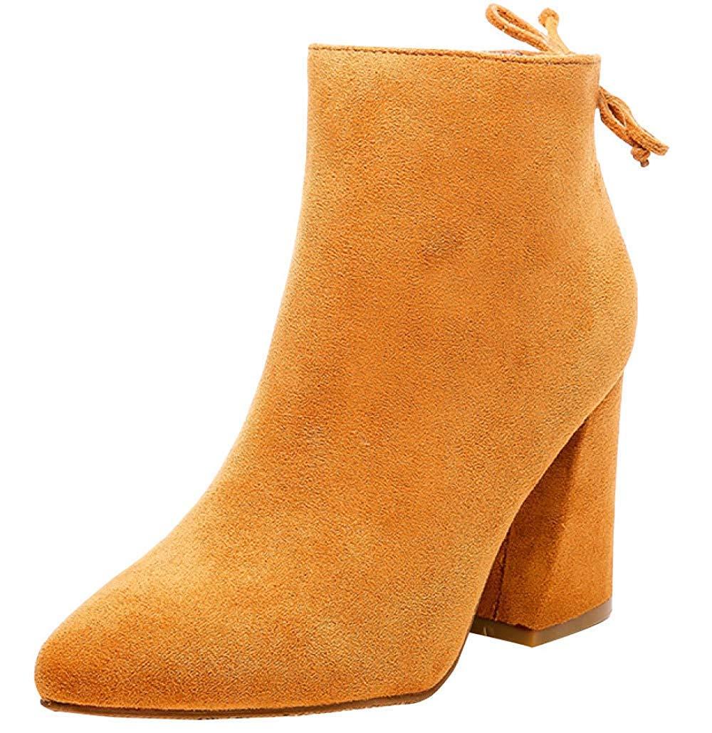 Qiusa Damen-Stiefel Aus Wildleder Und Wildleder Mit Hohem Absatz (Farbe   9 Größe   35EU)