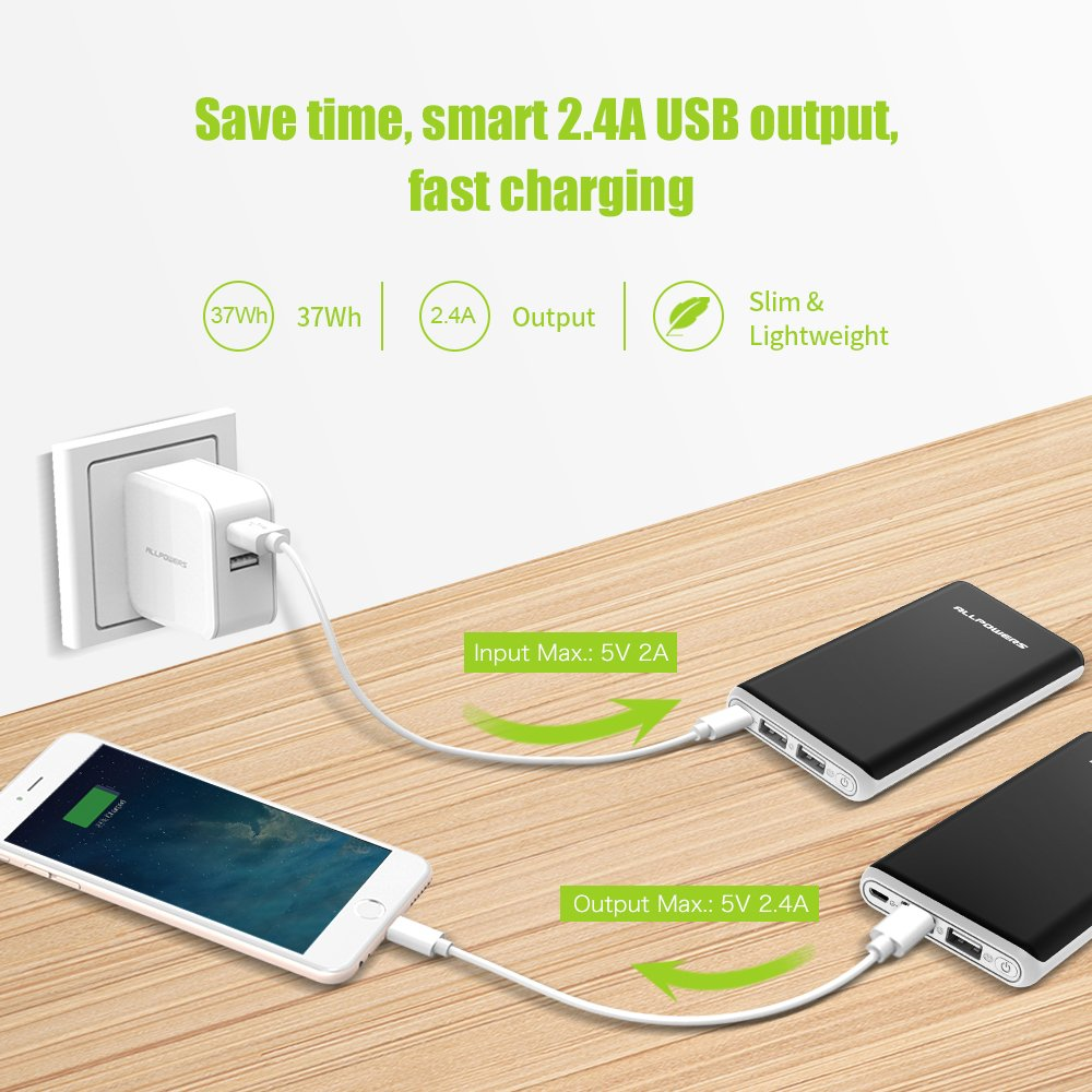 ALLPOWERS Portable Charger 20000mAh External Battery Power Bank with Dual 2.4A Output and 2A Input, iPower Tech for Cell Phones, iPhone, iPad, Samsung and More