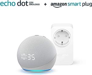 Nuovo Echo Dot (4ª generazione) con orologio - Bianco ghiaccio + Amazon Smart Plug (presa intelligente con connettività Wi-Fi), compatibile con Alexa