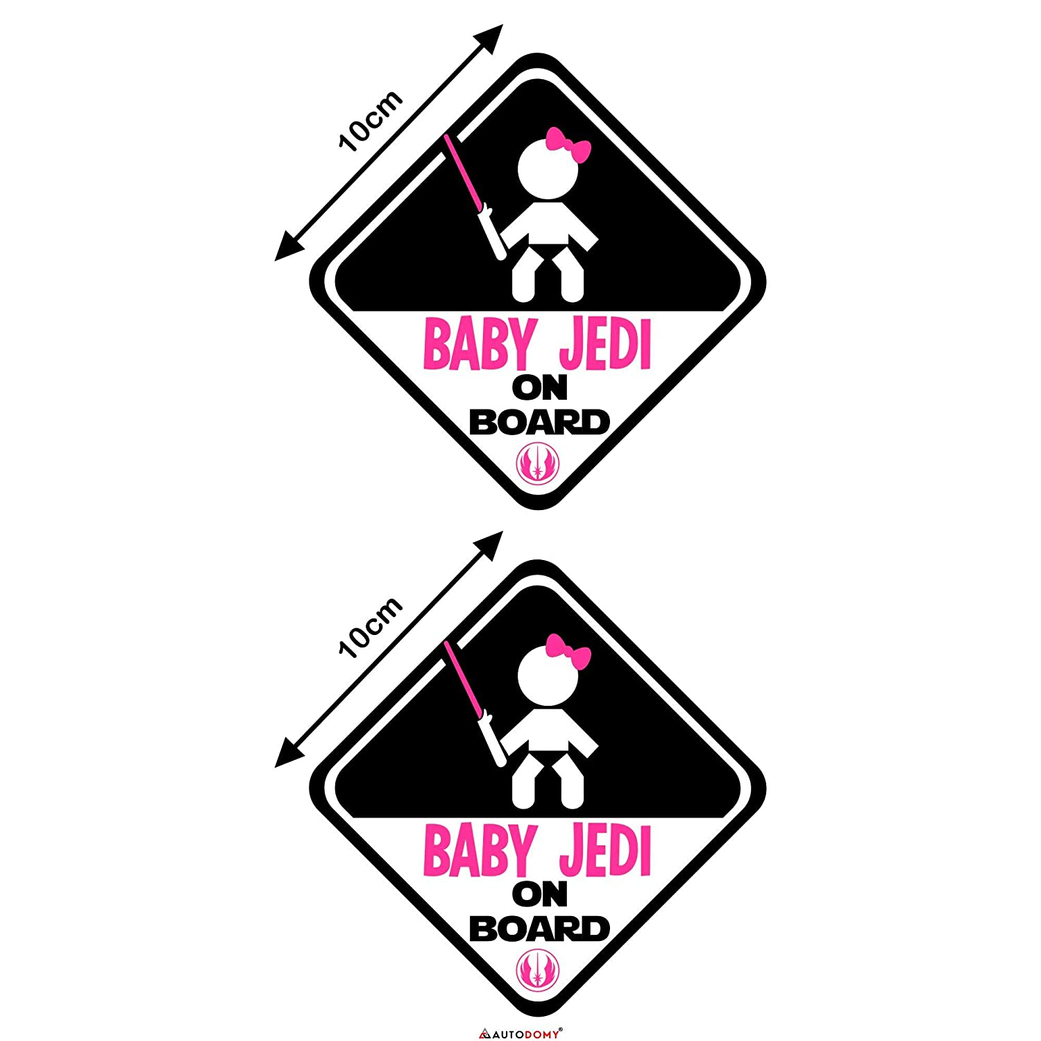 Autodomy Stickers Baby Jedi Girl Star Wars Baby On Board Baby on Board Baby in Car Pack of 2 Uso Interno
