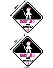 Autodomy Autocollants Baby Jedi Fille Star Wars Baby on Board Bébé à Bord Baby in Car Pack de 2 unités pour Voiture (Usage Interne)