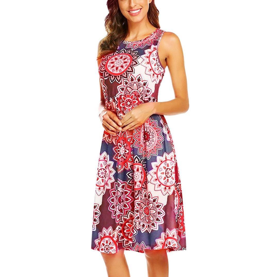 Vestidos Mujer Verano 2018,Mujer sin mangas Vintage bohemio Maxi fiesta de la noche vestido floral de playa LMMVP (L, G): Amazon.es: Belleza