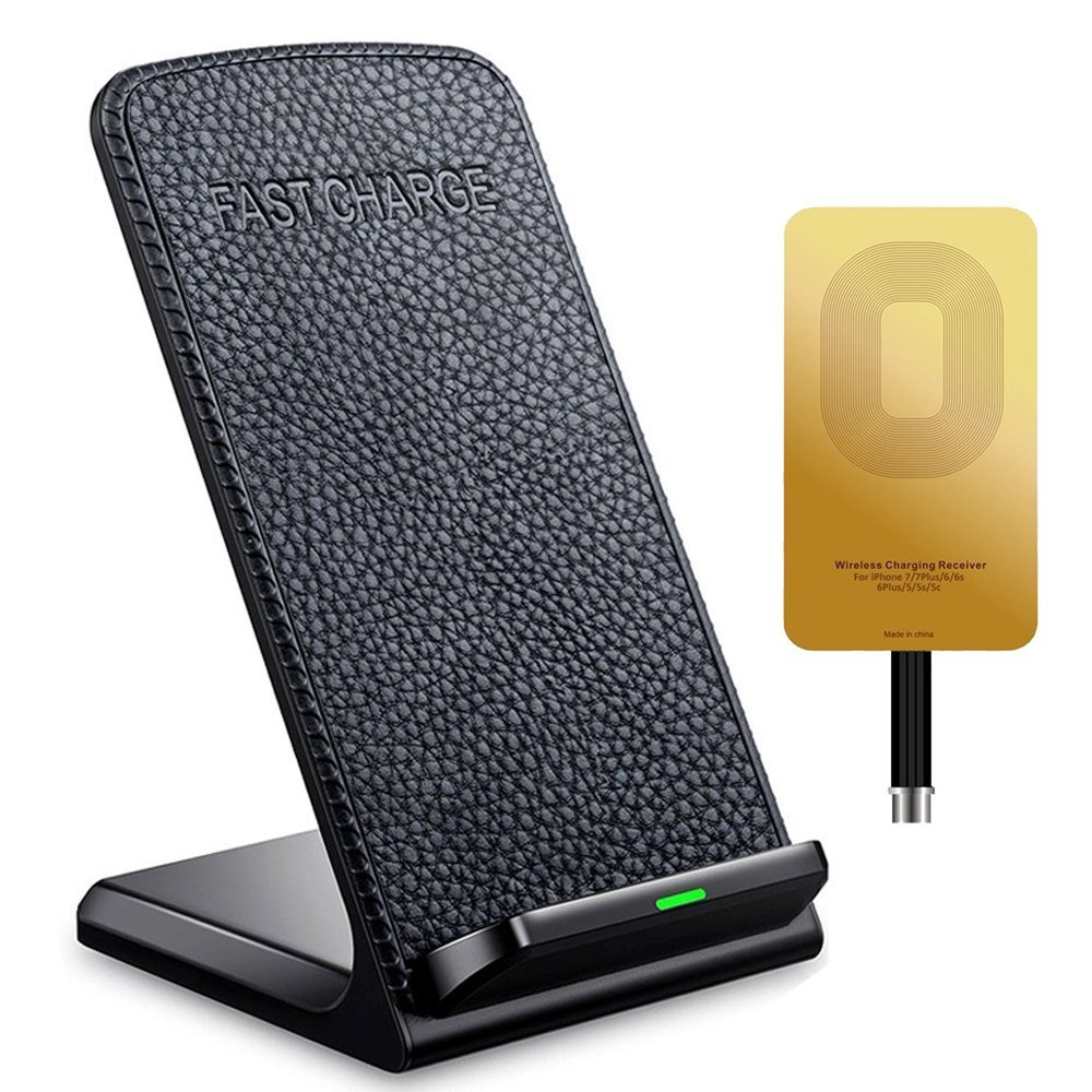 Fast Wireless Charger ivolks Leather Cordless CellPhone Rapid Charger With Receiver Portable QI Charging Stand Pad for for Apple iPhone X/8/8Plus/7/7 plus/6s/6s Plus/6/6 plus/5s/SE, Samsung Galaxy etc IV-LE-IP369
