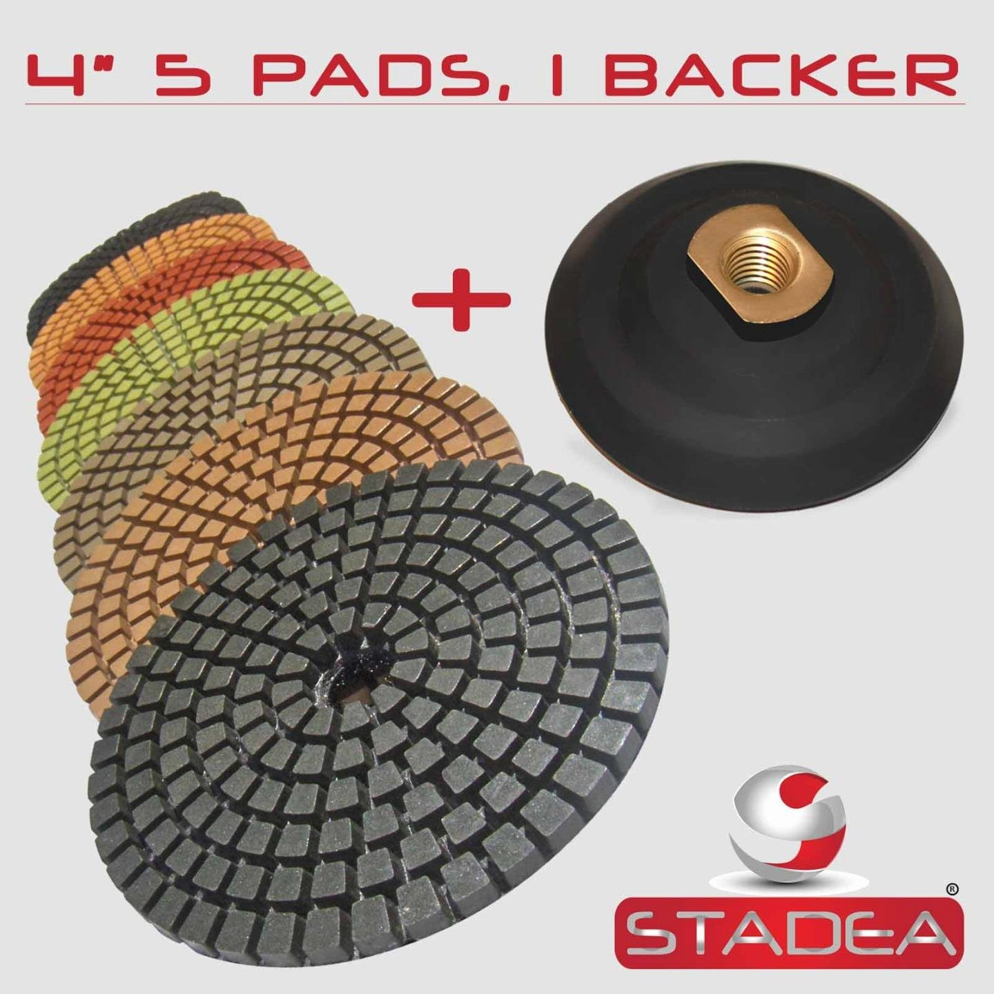 STADEA Premium Grade Wet 4'' Diamond Polishing Pads Set + Rubber Backer For CONCRETE Polish