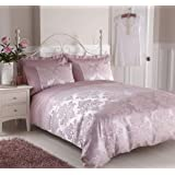Luxury Faux Silk Jacquard Floral Damask Standard Housewife Pillowcase Pair, Rose Pink - 50 x 75 cms