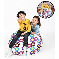 "Bean Bag Chair for Stuffed Animal Storage, Easy Solution for Extra Toys, Blankets, Towels, Clothes, Premium Seat for Kids - 38"" Flower"