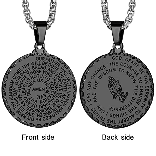 Laoyou lords prayer necklace mens christian bible verse serenity laoyou lords prayer necklace mens christian bible verse serenity pendant jewelry gifts for women men womens aloadofball Images