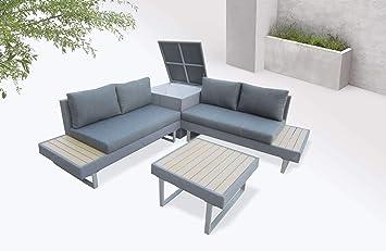 Bobochic - Palma - Salon de Jardin en Angle 5 Places - Aluminium ...