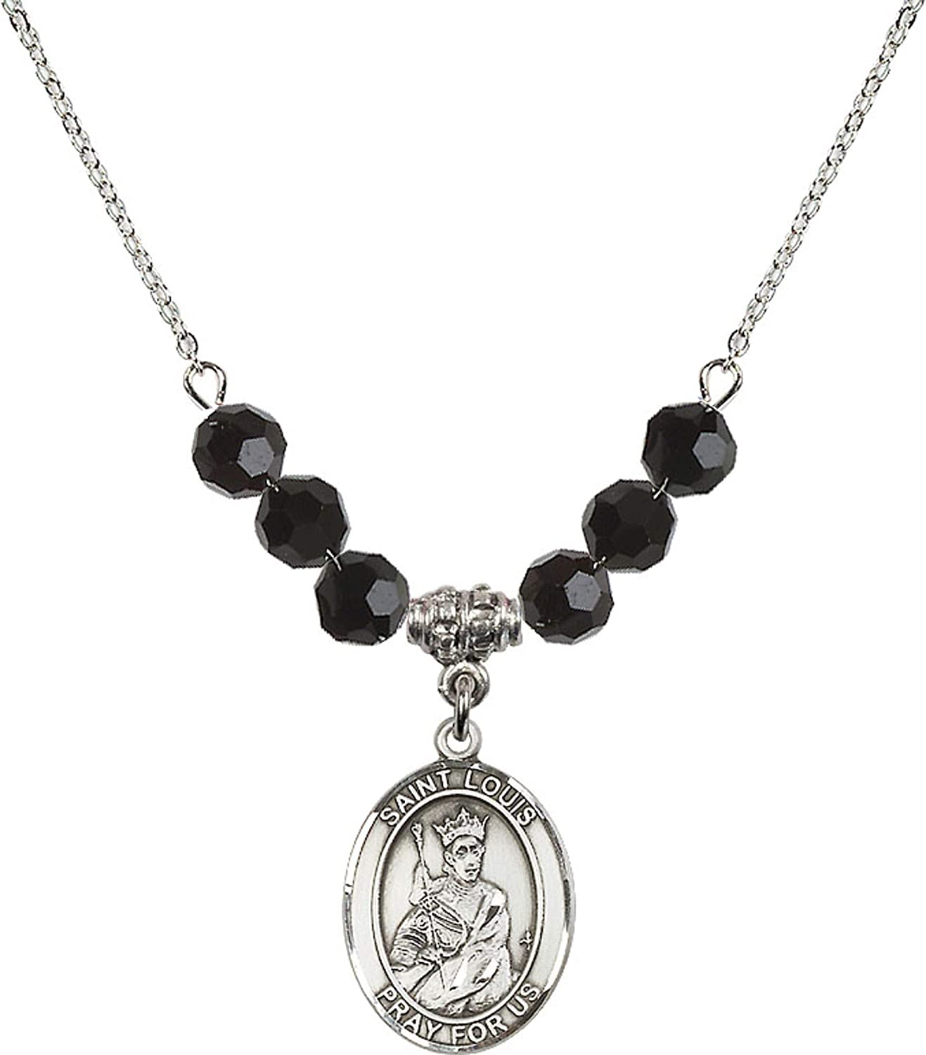 Bonyak Jewelry 18 Inch Rhodium Plated Necklace w// 6mm Jet Birth Month Stone Beads and Saint Louis Charm