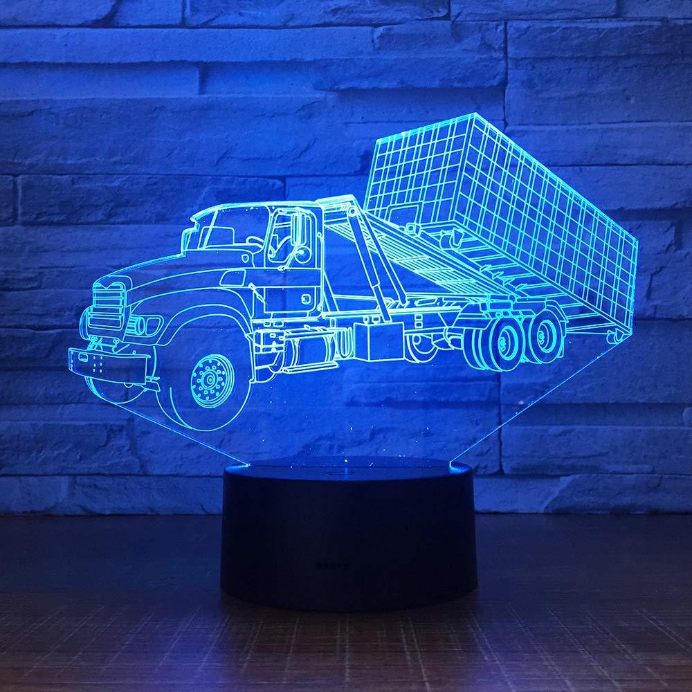 ZBHW Contenedor 3D Remolque Camión Luz de Noche 7 Colores Mood ...