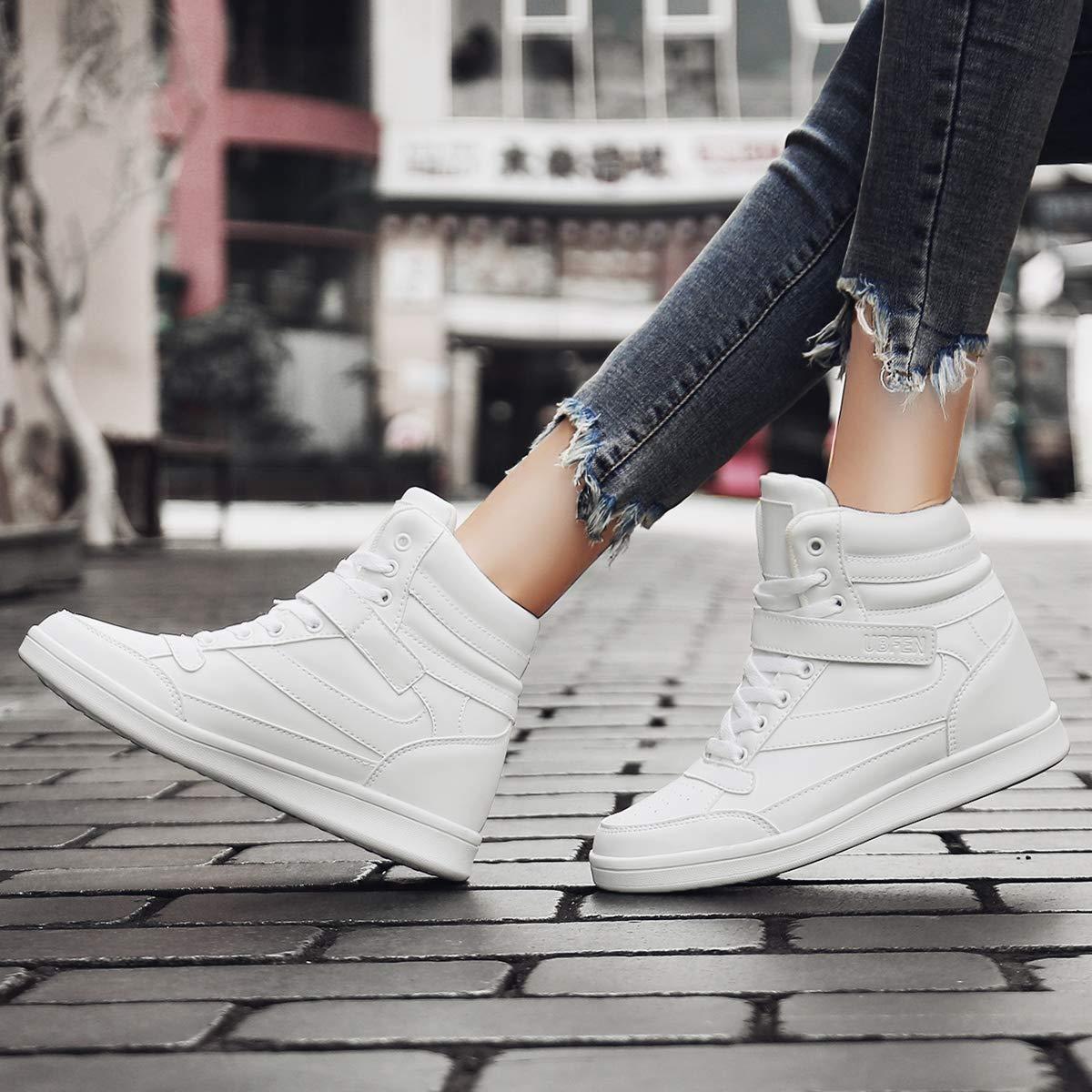 2db31240f UBFEN Deportivos de Cuña Mujer Zapatillas Botines Botas Deporte Zapatos  Alta Sneakers Wedges Elevador Interior Talón