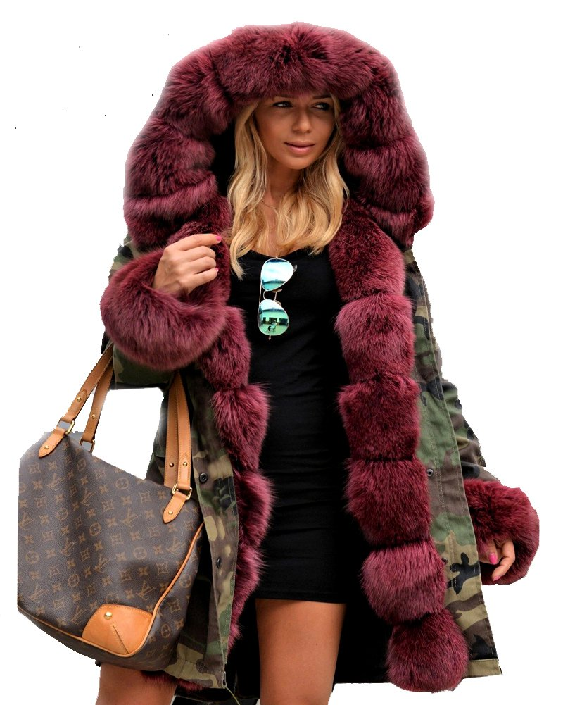 Roiii Thickened Wine Red Faux Fur Amry Green Camouflage Parka Women Hooded Fishtail Winter Jacket Overcoat Plus US Size S-3XL (3X-Large, Wine Red)