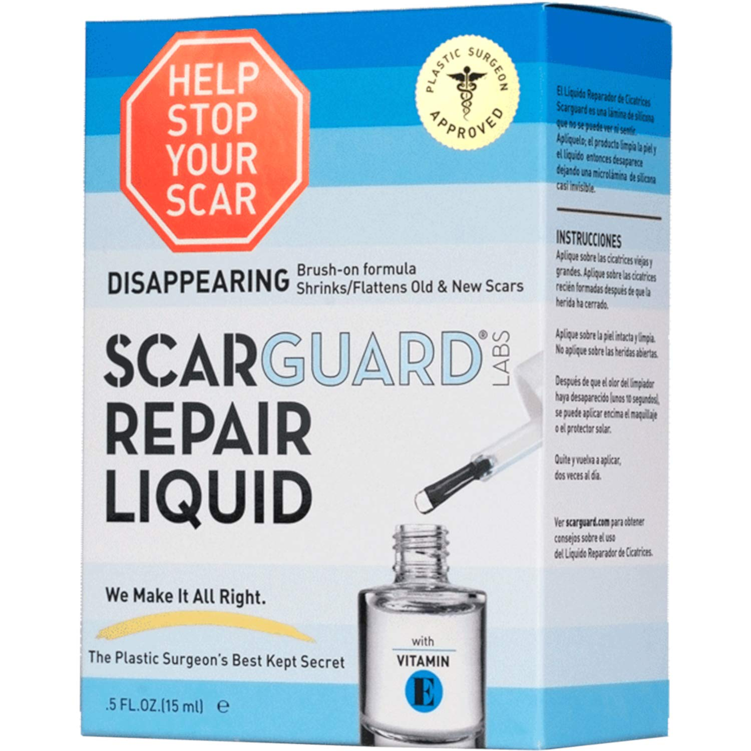 Scarguard Repair Liquid with Vitamin E 0.5 oz (Pack of 3) - Packaging may vary