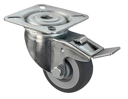 Ruedas Giratorias para aparato Con Freno 50 mm sin tope de goma, gris que no