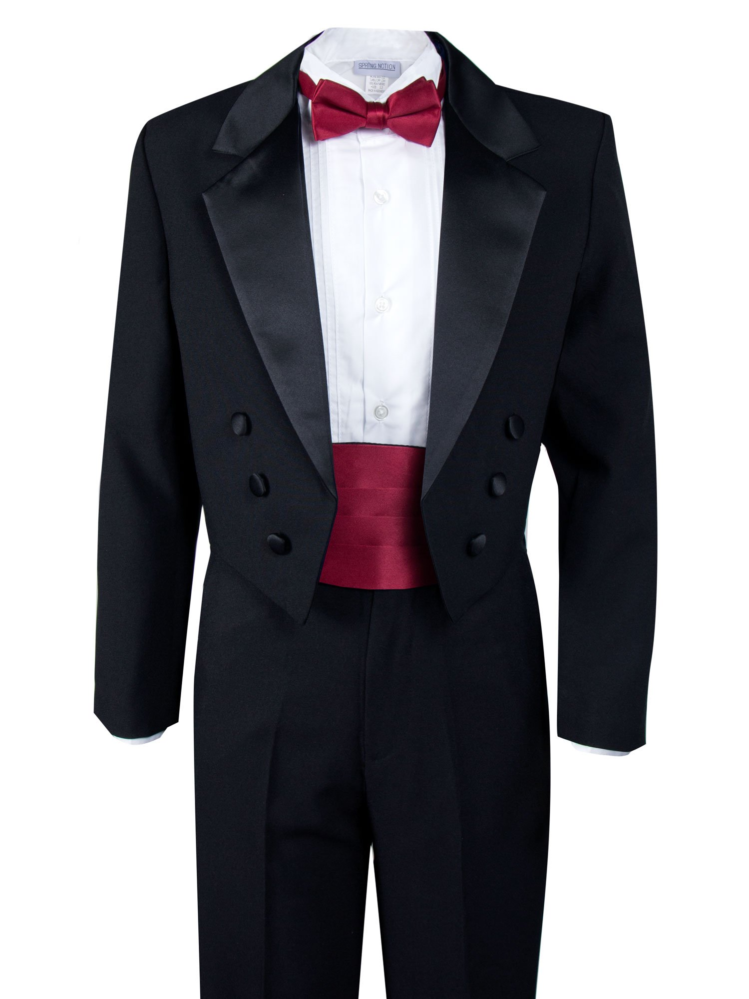 Spring Notion Boys' Black Classic Tuxedo with Tail Red 16