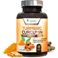 Turmeric Curcumin Max Potency 95% Curcuminoids 1950mg with Bioperine Black Pepper for Best Absorption, Made in USA, Anti-Inflammatory Joint Relief, Turmeric Pills by Natures Nutrition - 120 Capsules