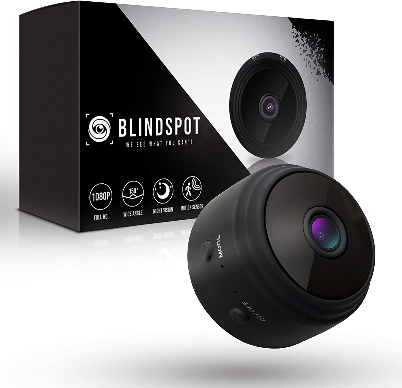 BLINDSPOT Spy Camera Wireless Hidden Home Protection Mini Camera | Portable Security Hidden Camera with 150° Lens, Motion Sensor, Night Vision & HD 1080p Recording WiFi Nanny Cam [2019 Upgraded Model]