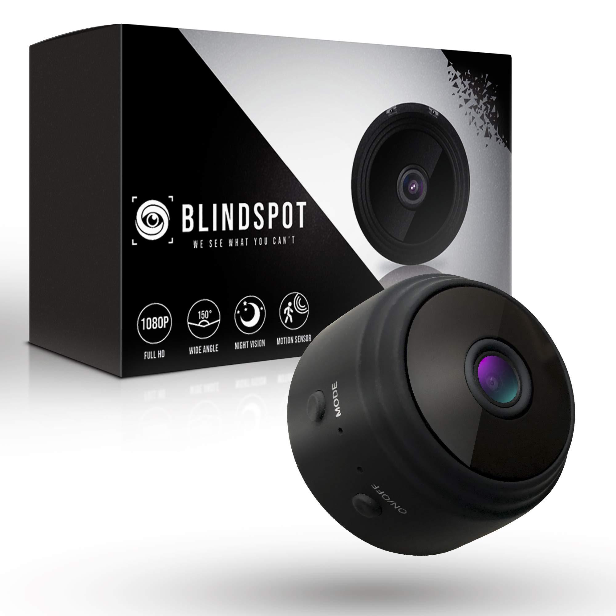 BLINDSPOT Spy Camera Wireless Hidden Home Protection Mini Camera | Portable Security Hidden Camera with 150° Lens, Motion Sensor, Night Vision & HD 1080p Recording WiFi Nanny Cam [2019 Upgraded Model] by Blindspot