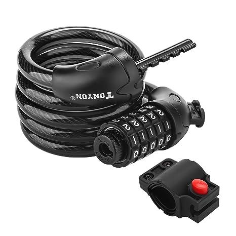 Bicicleta cable antirrobo, alta seguridad cadena de enrollar cable ...