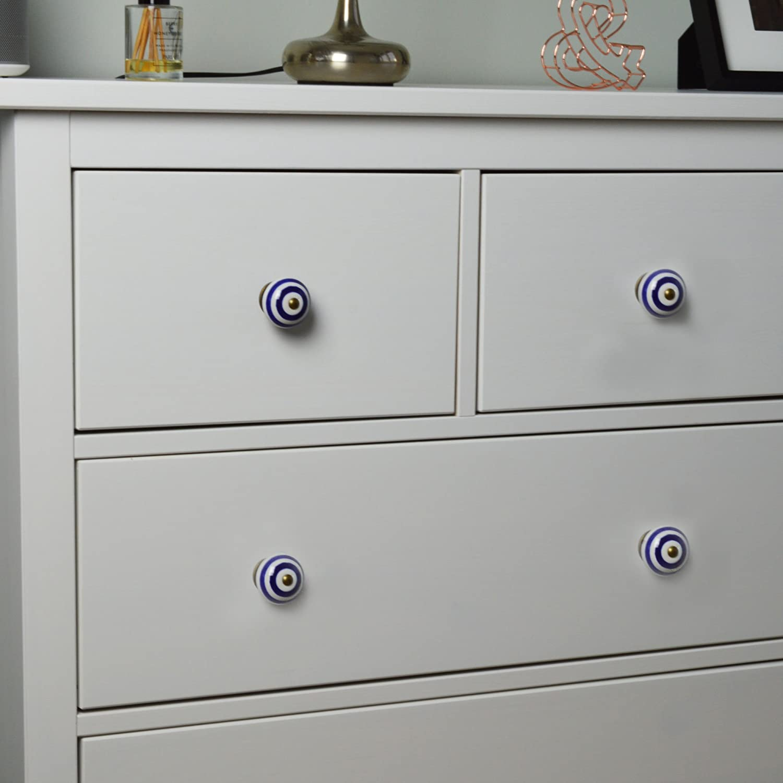 Design a Righe per Armadi//Cassetti Nicola Spring Set da 6 Colore Blu Scuro Pomelli in Ceramica