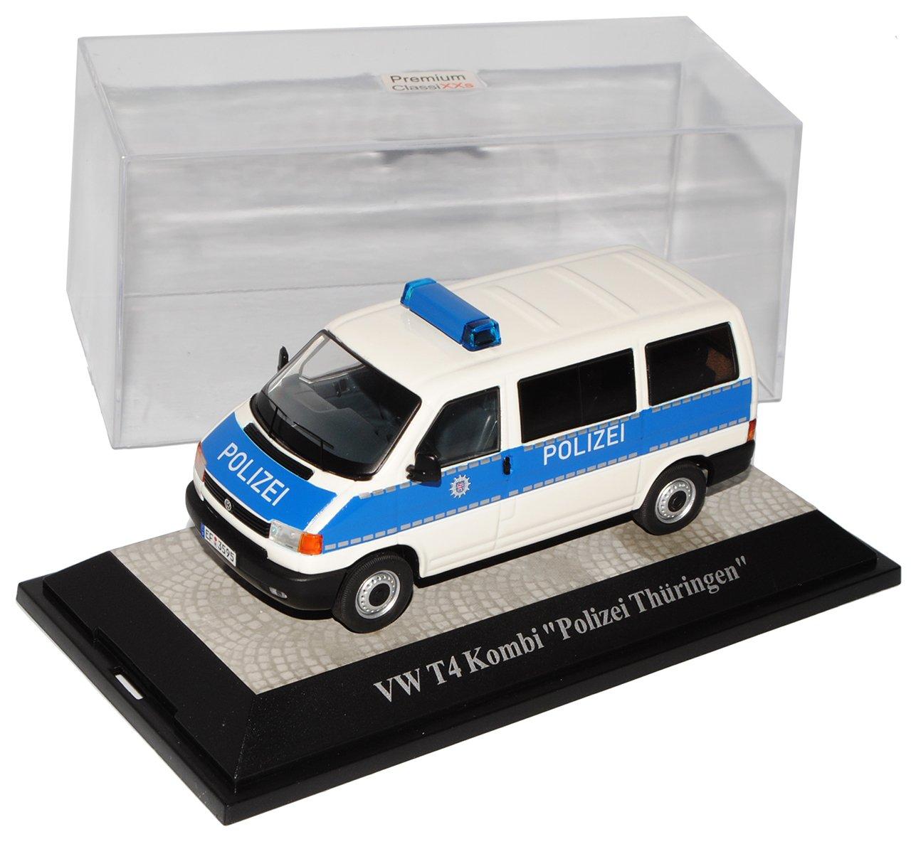 Premium ClassiXXs Volkwagen T4 Kombi Polizei Thüringen Blau Weiss 1990-2003 1/43 Modell Auto mit individiuellem Wunschkennzeichen