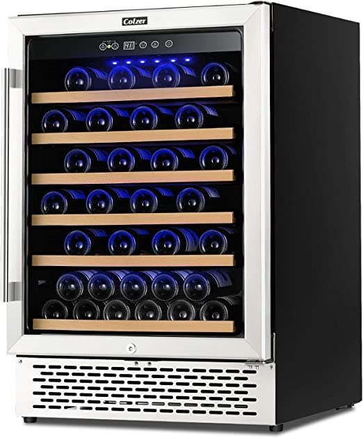 Amazon Com Colzer Premium 24 Inch Wine Cooler 51 Bottle Wine Fridge With 2 Locks Humidity Control Intelligent Digital Upgrade Compressor Built In Or Freestanding Wine Cellars For Home Office Bar Appliances