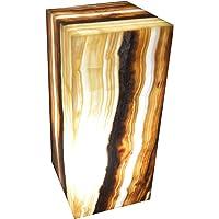 "Lámpara decorativa de mesa/buró artesanal 30cmx15cm en piedra mármol ónix""Ambar"""